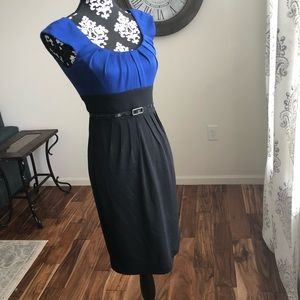 Black and blue London Times belted dress